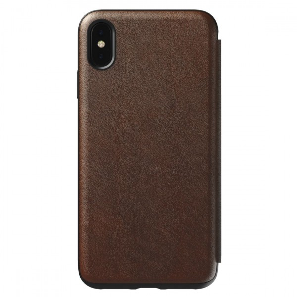 Nomad Horween Leather Rugged Tri-Folio for iPhone XS Max - Rustic Brown, NM21TR0H50