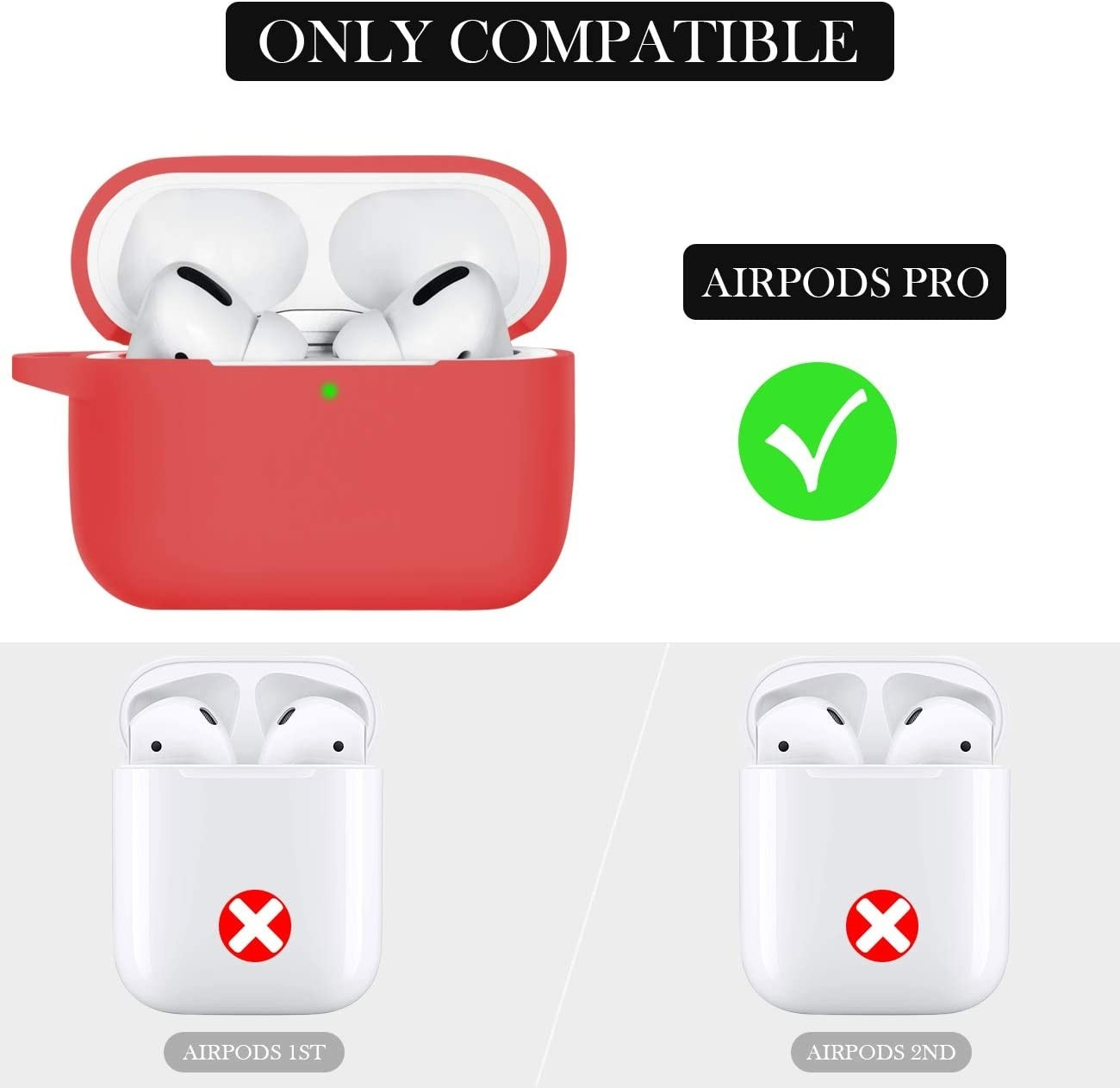 Wepro Shockproof Silicone Protective Skin with Keychain for AirPods Pro - Red, ZF-0084-red