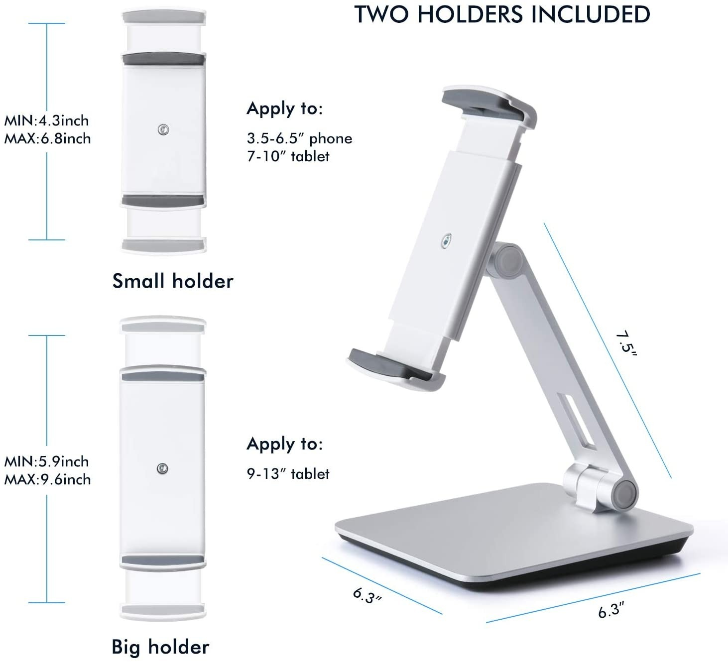 Viozon Stand, Tablet Stands 360° Rotatable Aluminum Alloy Desktop Mount Stand for 7-13inch Tablet,3.5-6.5 inch Cellphone iPad Pro iPadAir iPad Mini Surface and Surface Pro - Silver, LYSB01ALPUFYO
