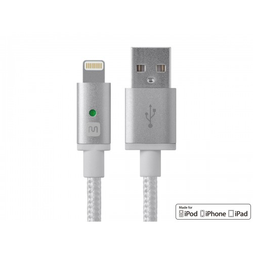 **DISCONTINUED** Monoprice Luxe Series Apple MFi Certified Lightning™ to USB Charge & Sync Cable, 6-inch White