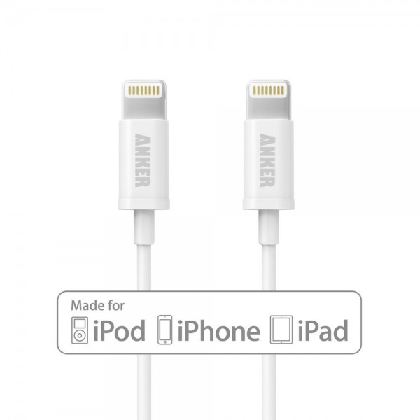 Apple MFi Certified [2-Pack] Anker 3ft / 0.9m Premium Lightning to USB Cable with Ultra Compact Connector Head for iPhone, iPod and iPad (White), B7101021