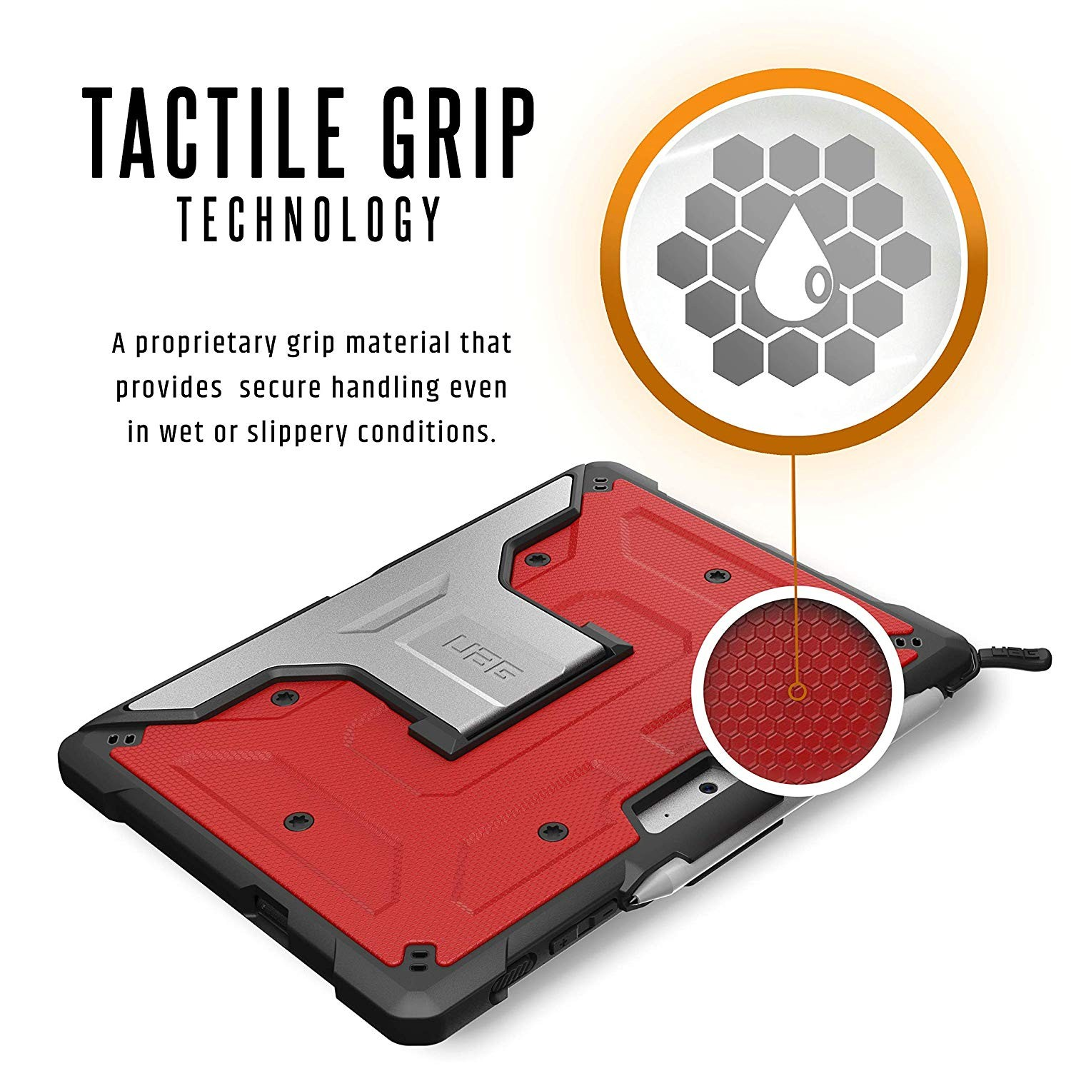 UAG Microsoft Surface Go Feather-Light Rugged Aluminum Stand Military Drop Tested Case - Magma, 321076119393