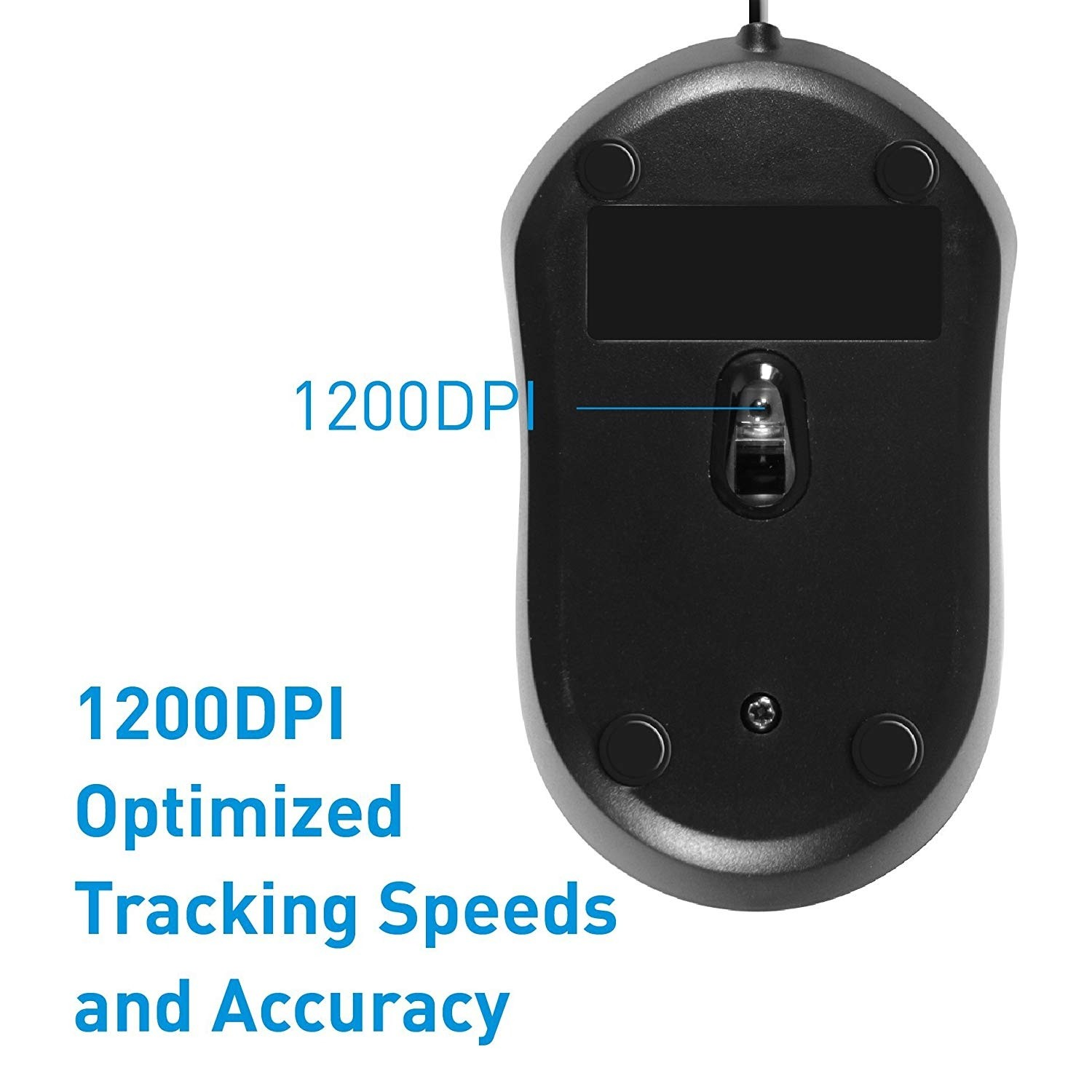 Macally USB Wired Computer Mouse with 3 Button, Scroll Wheel, 5 Foot Long Cord, Compatible with Windows PC, Apple MacBook Pro/Air, iMac, Mac Mini, Laptops - Black, QMOUSEB