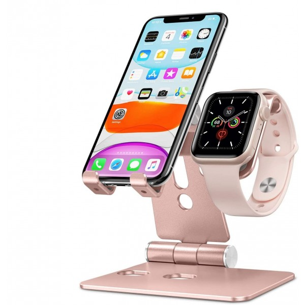 OMOTON 2 in 1 Aluminum Foldable Charging Dock Stand for Apple Watch 5/4/3/2/1 and iPhone SE/11/11 Pro/11 Pro Max/XR/Xs/Xs Max - Rose Gold, B07Y1GNSXN