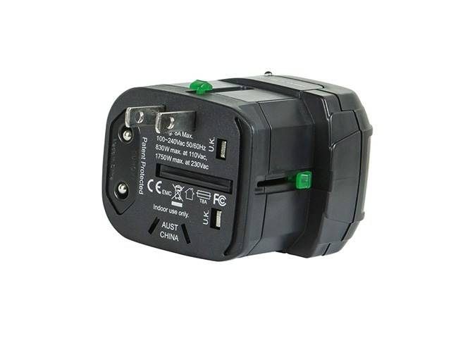 Compact Cube2 Universal Travel Adaptor with Dual USB Charge Ports - Black, *CUBE2-10398
