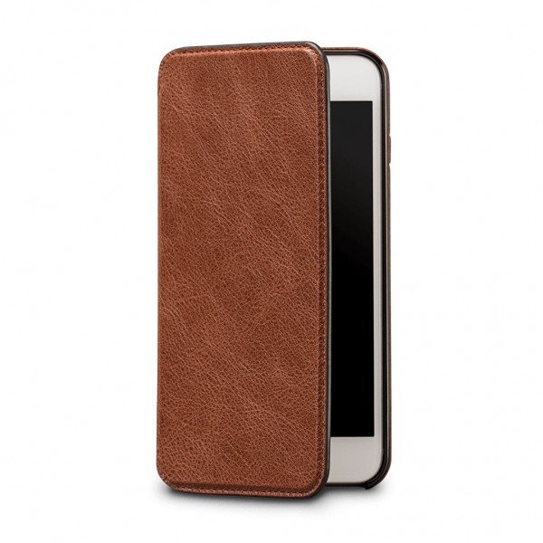 **DISCONTINUED** Sena Ultra Thin Wallet Book for iPhone 7 Plus/8 Plus - Cognac, SFD27506ALUS