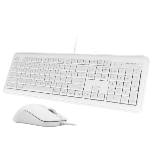 Macally 104 Key USB Wired Keyboard with 2 USB Port Hub and Mouse Combo for Mac or PC - White