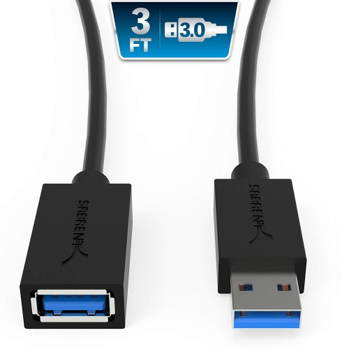 Sabrent 22AWG USB 3.0 Extension Cable, 0.9M - Black