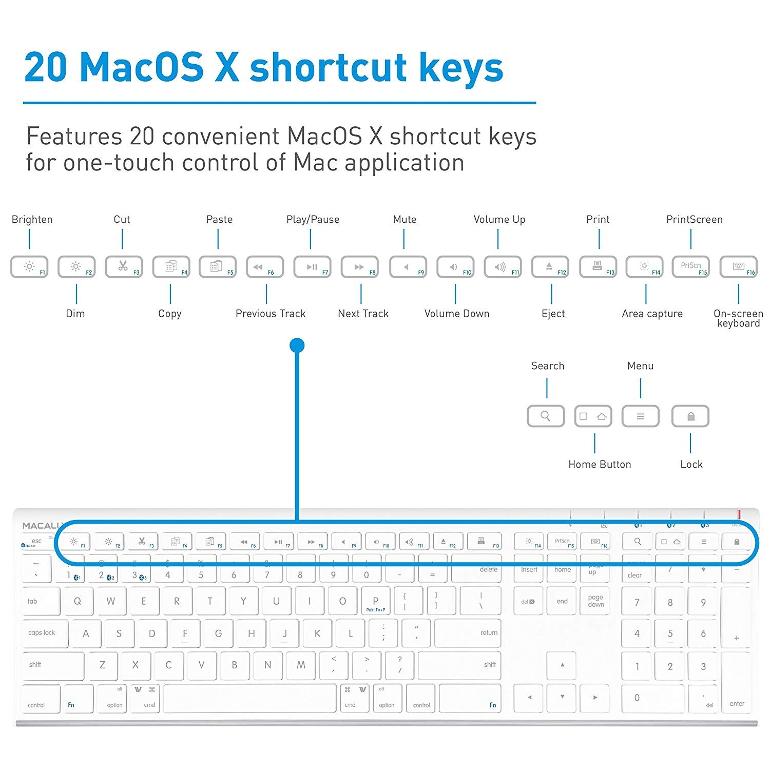 Macally Quick Switch Bluetooth Keyboard for Three Devices - White, ACEBTKEY