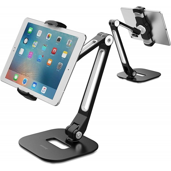 AboveTEK Long Arm Aluminum Tablet Stand with 360° Swivel iPhone Clamp Mount Holder - Black, TS-196B