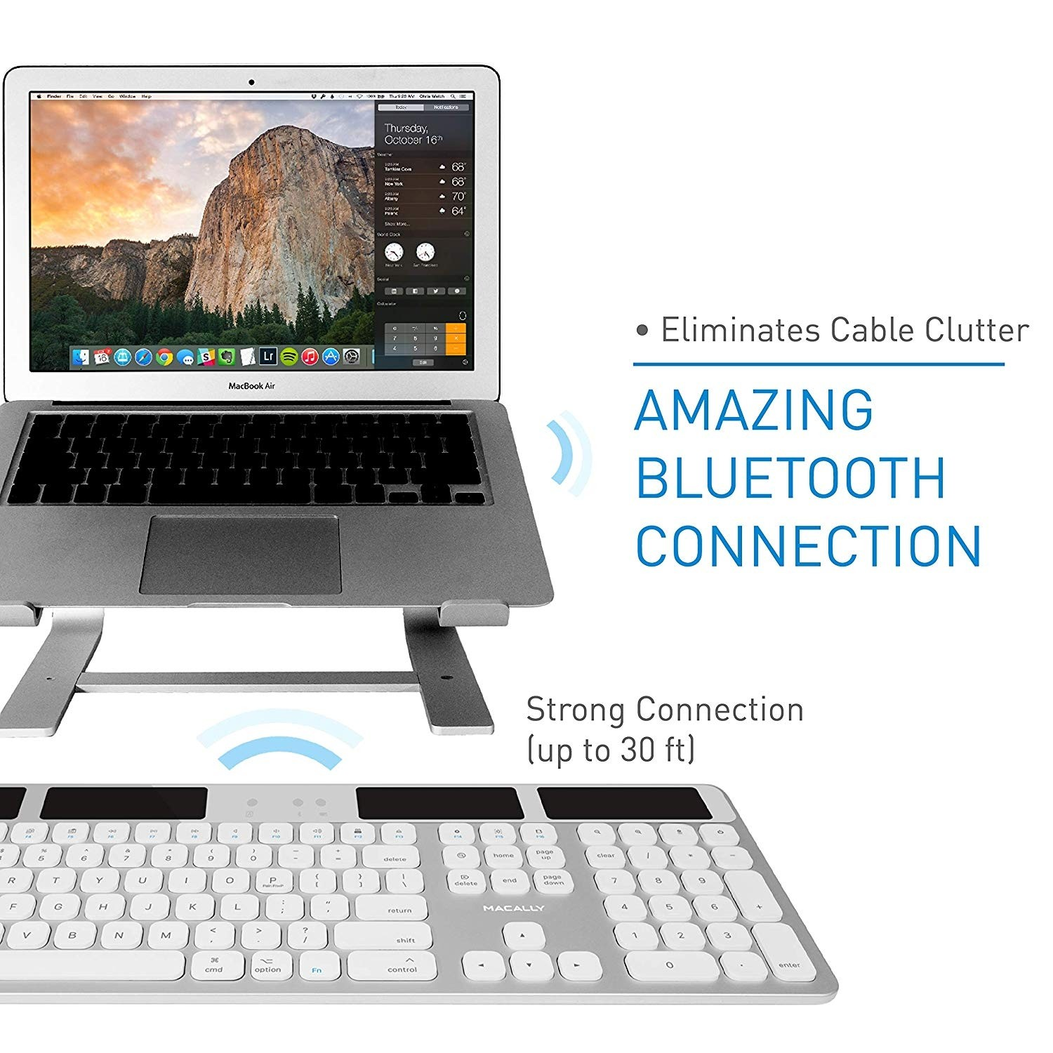 Macally Solar Powered Rechargeable Slim Bluetooth Keyboard for Mac - Silver, BTSOLARKEYA