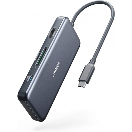 Anker PowerExpand+ 7-in-1 USB C Hub Adapter, with 4K HDMI, 100W Power Delivery, USB-C and 2 USB-A 5Gbps Data Ports, microSD and SD Card Reader