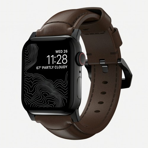 Nomad - Traditional Strap for Apple Watch 42/44mm - Rustic Brown - Black Hardware