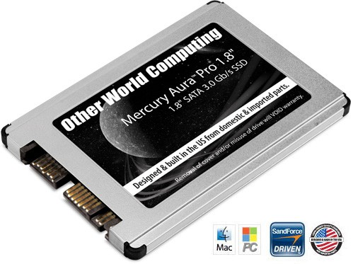 "120GB OWC Mercury Aura Pro 1.8"" Solid State Drive for special applications, netbooks & subnotebooks that utilize a 1.8"" SATA hard drive"