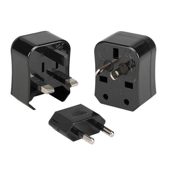 Kanex Travel Buddy 3-in-1 Universal AC Wall Converter for US, UK, EU and AU - Black, INTADPBLK