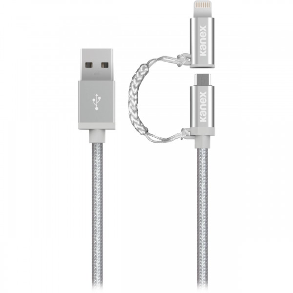 Kanex Premium Micro-USB and Lightning Connector Adapter 1.2M Braided Cable - Silver , K8PMU4FPSV