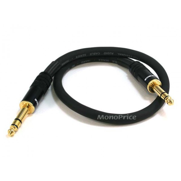 45cm Premier Series 1/4inch (TRS or Stereo Phono) Male to Male 16AWG Cable (Gold Plated), TRS-4791