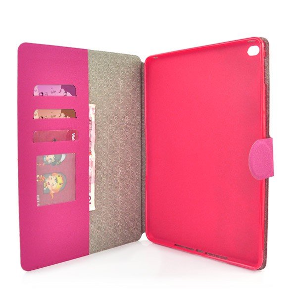 Flip Stand Cover Case with Card Slot for iPad Air 2 - Magenta, IPD6-FLIP-66356