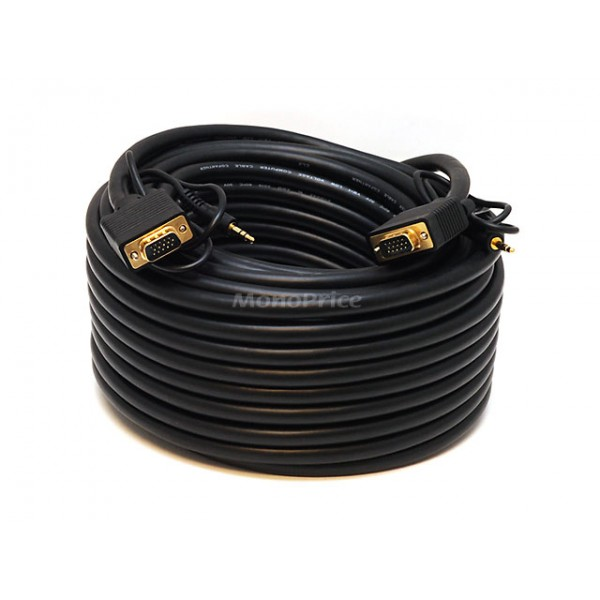 23m Super VGA HD15 M/M CL2 Rated Cable w/ Stereo Audio and Triple Shielding (Gold Plated), VGA-VGA-5363