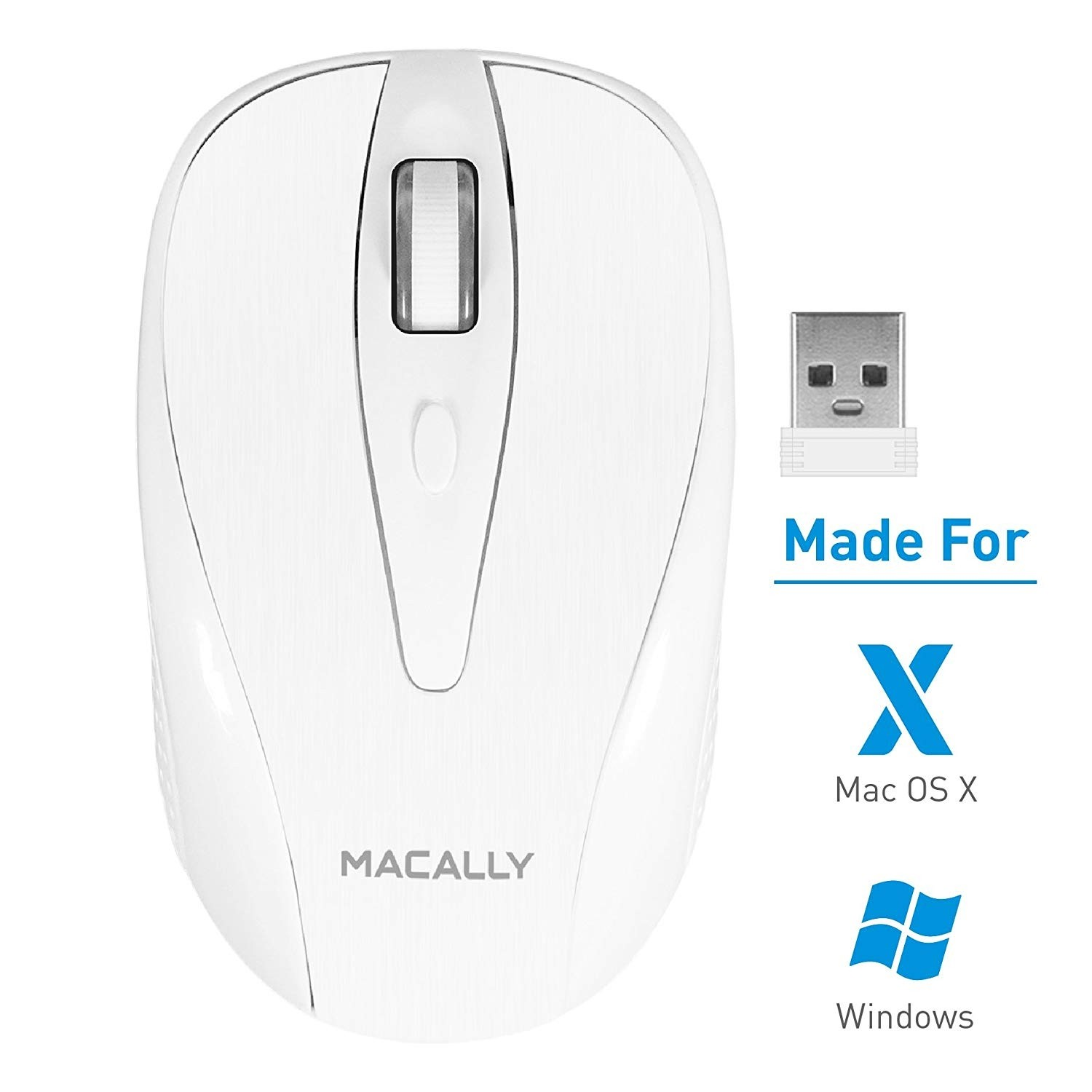 **DISCONTINUED** Macally 2.4G Wireless Mouse with USB Dongle Nano Receiver | Portable Mobile Optical 1000 DPI Cordless RF Mice for Computer, Laptop, Notebook, Apple Mac MacBook, Windows PC - White, RFTURBO