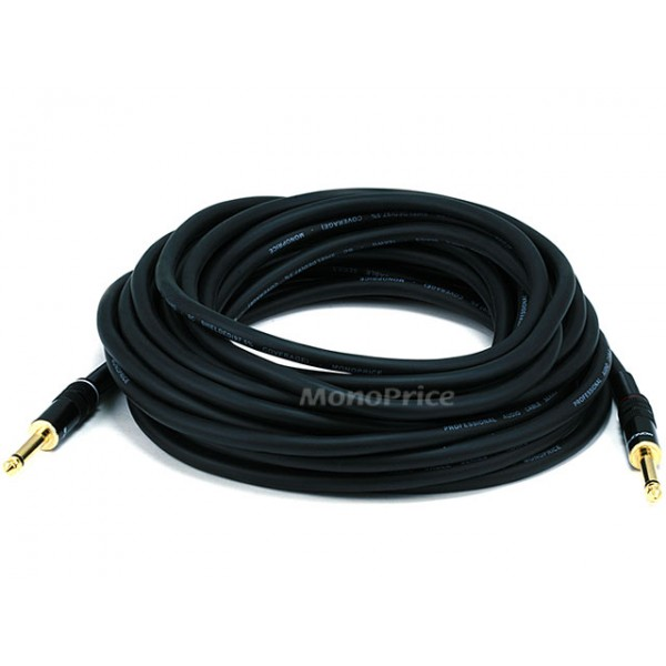 10.7m Premier Series 1/4inch (TS or Mono Phono) Male to Male 16AWG Audio Cable (Gold Plated), JACK-5500