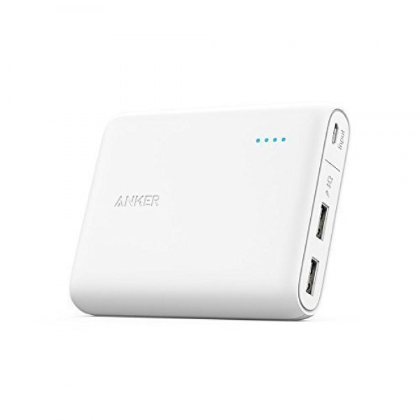Anker PowerCore 13000 Portable Charger - Compact 13000mAh 2-Port Ultra Portable Phone Charger Power Bank with PowerIQ and VoltageBoost Technology for iPhone, iPad, Samsung Galaxy - White, A1215H21