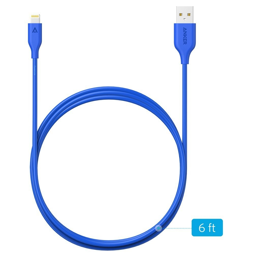 Anker PowerLine Lightning Apple MFi Certified Lightning Cable / Charger Cord, - 1.8m Blue, AK-A8112031