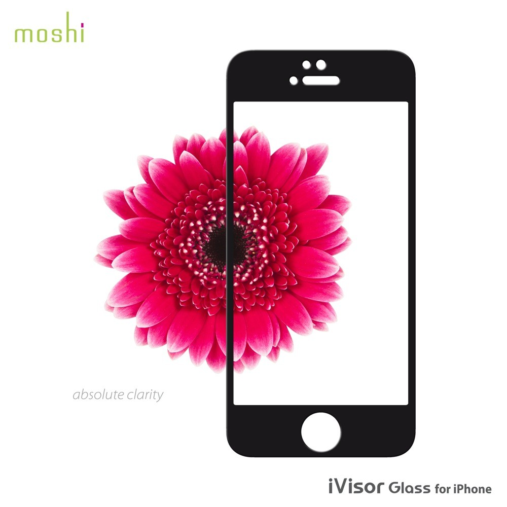 Moshi iVisor Glass Screen Protector for iPhone 5/5s/5c - Black, *IPH5-GLASS-BK