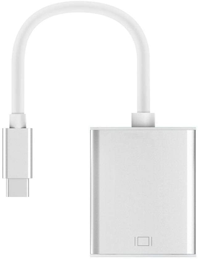 USB-C (Thunderbolt 3) to VGA Adapter, Converter Compatible with MacBook Pro, New MacBook, MacBook Air 2018, Dell XPS 13/15, Surface Book 2 and More - Silver, ZF-MA034