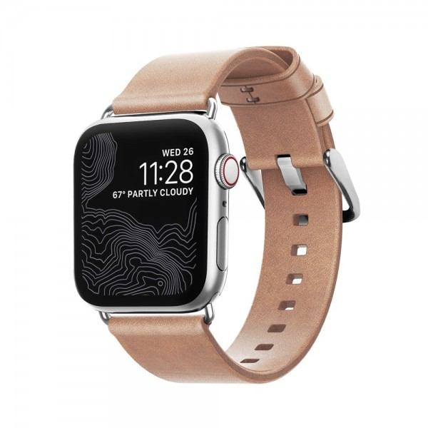 Nomad - Natural Modern Strap for Apple Watch 40mm, Silver Hardware, NM1A3NSM00