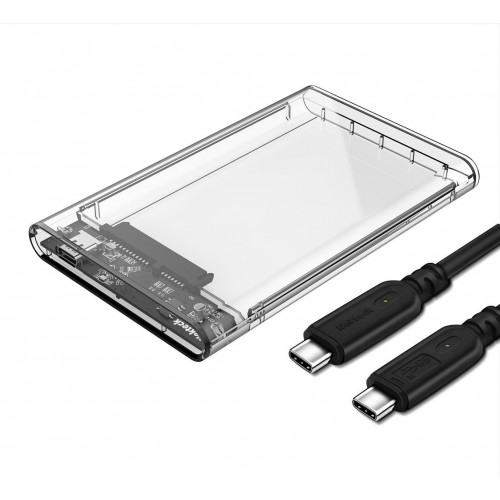 Nekteck Transparent Case SATA to USB-C Type-C Hard Disk Enclosure HDD/SSD Adapter