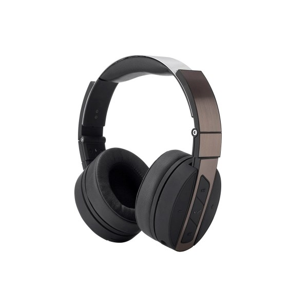 Bluetooth Over-The-Ear Headphones with Built-In Microphone Black and Brushed Metal, 13893
