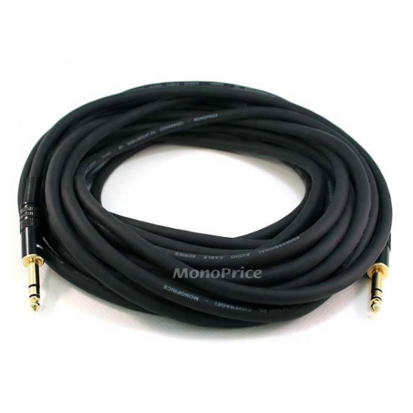 30m Premier Series 1/4inch (TRS or Stereo Phono) Male to Male 16AWG Cable (Gold Plated), TRS-4800