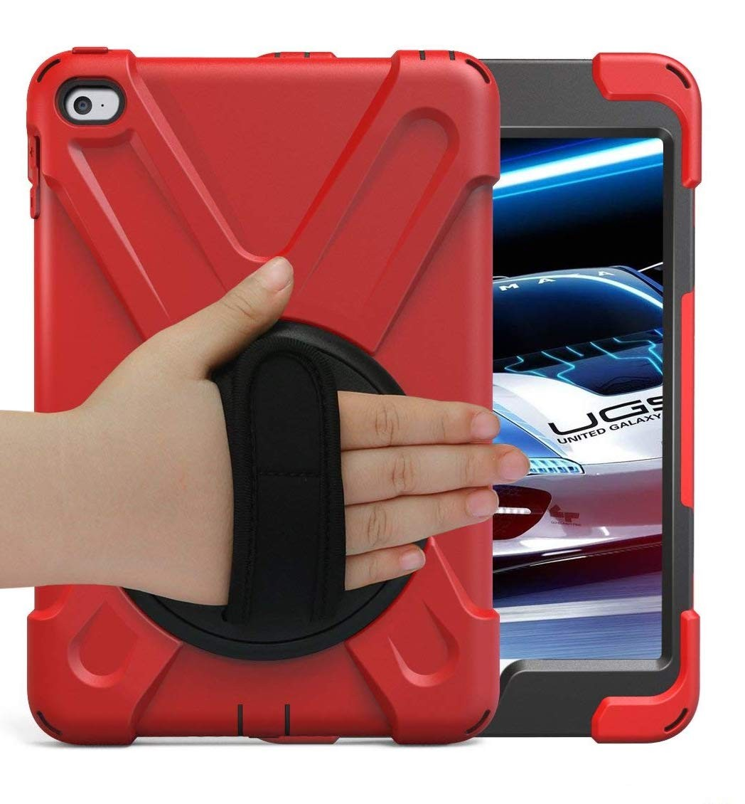 BRAECN for iPad Mini4 Shockpoof Case Three Layer Drop Protection Rugged Protective Heavy Duty iPad Case With a 360 Degree Swivel Stand/a Hand Strap and a Shoulder Strap for iPad Mini 4 Case - Red, B074J4J89B