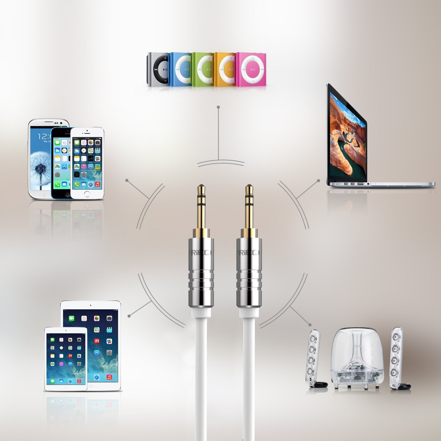FRiEQ 3.5mm Male To Male Car and Home Stereo TPE Cable Audio Cable (4 Feet/1.2M) Fits Over Tablet & Smart Phone Cases For Apple iPad, iPhone, iPod, Samsung, Android, MP3 Players - White (Plug will be Fully Seated with Phone Case On), B012CD2UIM