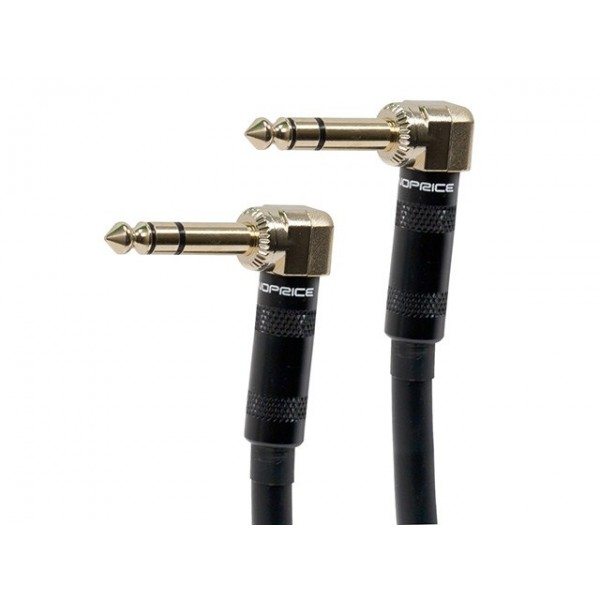 8-inch Premier Series 1/4inch (TRS or Stereo Phono) Male Right Angle to Male Right Angle 16AWG Cable (Gold Plated), TRS-601100