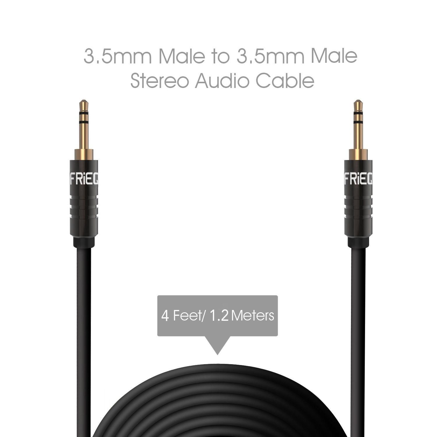 FRiEQ 3.5mm Male To Male Car and Home Stereo TPE Cable Audio Cable (4 Feet/1.2M) Fits Over Tablet & Smart Phone Cases For Apple iPad, iPhone, iPod, Samsung, Android, MP3 Players - Black (Plug will be Fully Seated with Phone Case On), B00WTZMAQQ
