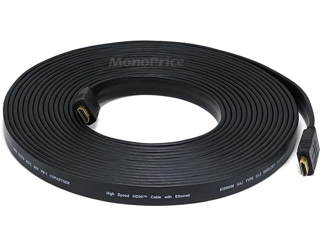 Monoprice 30ft 24AWG CL2 Flat Standard HDMI Cable With Ethernet - Black - 9 metres, HDMICAB-6134
