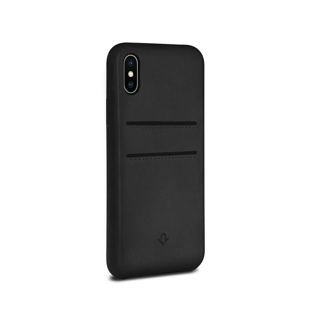 Twelve South Relaxed Leather w/ Pockets for iPhone X/Xs - Black, 12-1736