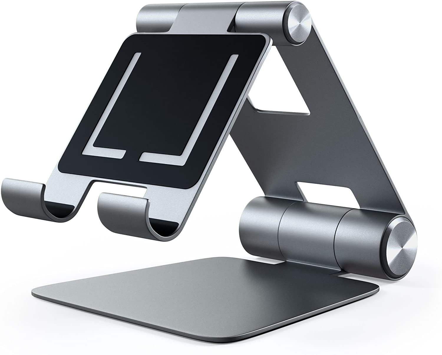 Satechi R1 Aluminum Multi-Angle Foldable Tablet Stand - Compatible with 2020/2018 iPad Pro, 2020 iPad Air, iPhone 12 Pro Max/12 Mini/12, 11 Pro Max/11 Pro, Xs Max/XS/XR/X, 8 Plus/8 (Space Gray), ST-R1M