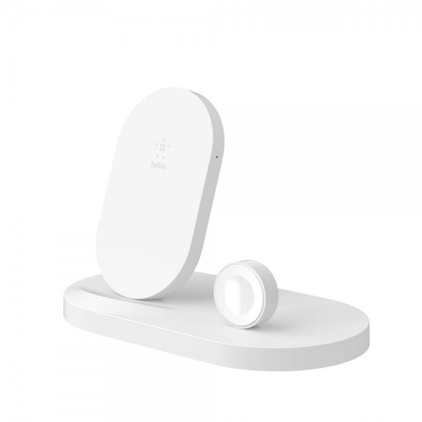 **DISCONTINUED** Belkin Boost Up Wireless Charging Dock for iPhone + Apple Watch + USB-A Port - White, F8J235auWHT
