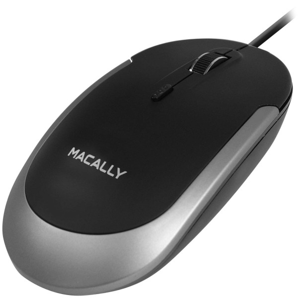 Macally Silent USB Mouse Wired for Apple Mac or Windows, Slim & Compact Mice Design with Optical Sensor & DPI Switch 800/1200/1600/2400,  Small for Easy Travel - Space Gray / Black, DYNAMOUSESG