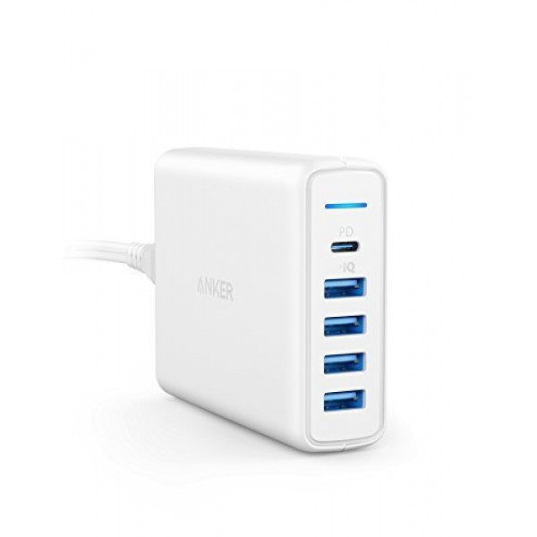 Anker USB Type-C Premium 5-Port 60W USB Wall Charger, PowerPort - White, AK-A2056121