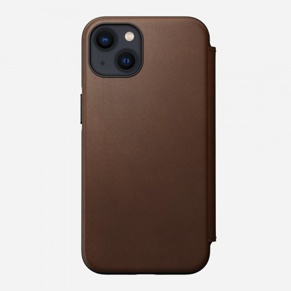 Nomad Modern Leather Folio Case For iPhone 13 - Rustic Brown, NM01073185