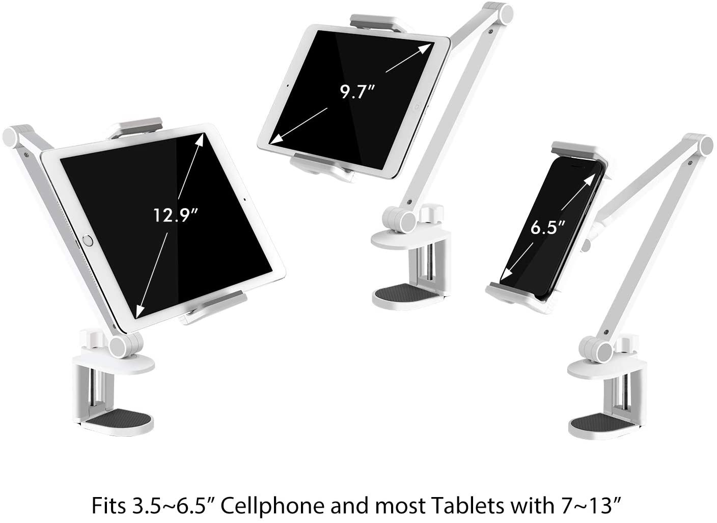 Viozon Tablet Stand Holder Mount, Rotate 360 Degrees of Flexible, Height and Angle Adjustable, High-Grade Aluminium Alloy Long Arm Compatible with 4-13 Mobile Phone and Tablet - White, AP-7LCW