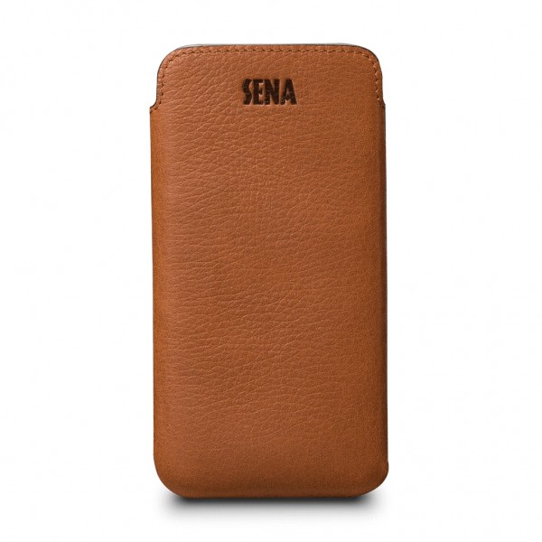 Sena Ultraslim Classic Leather Sleeve Pouch for iPhone X / XS - Tan, SFD31706NPUS