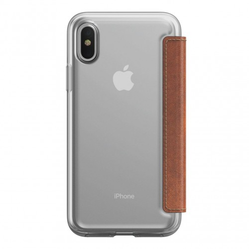 Nomad Horween Clear Wallet Folio for iPhone X/Xs - Rustic Brown