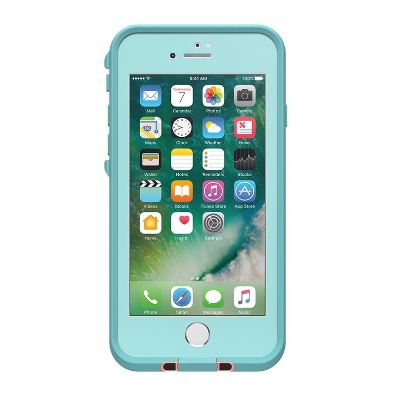 LifeProof FRE Case Suits iPhone 8/7/SE (Gen 2) - Blue/Coral/Mandalay Bay, 77-56790