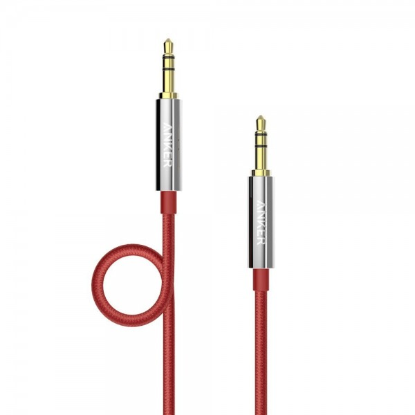 Anker 3.5mm Nylon Braided Auxiliary Audio Cable (4ft / 1.2m) Tangle-Free AUX Cable for Headphones, iPods, iPhones, iPads, Home / Car Stereos and More - Red Nylon, AK-A7113091