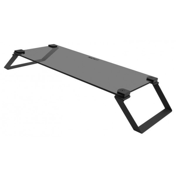 Macally Tempered Glass Stand Riser for Laptops and Desktop Monitors - Smokey Gray, SPACESTAND